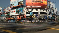Time Lapse of Colorful Street in Shopping District of Kuala Lumpur, Malaysia Stock Footage