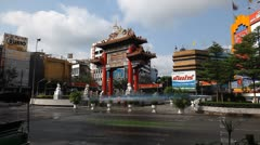 Time Lapse of Chinatown Gate Odeon, Chinatown in Bangkok, Krung Thep Maha Nakhon Stock Footage