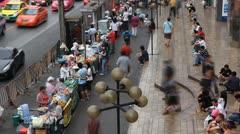 Time Lapse of Bustling Street Of Bangkok, Thanon Phetchaburi, Market Street Food - stock footage
