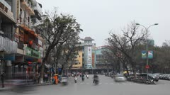Time Lapse of The Bustling Street Scene Of Hanoi, Vietnam, Old Town, Motorcycles - stock footage