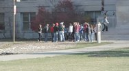 Stock Footage College Students in Fall - student group outside of building Stock Footage