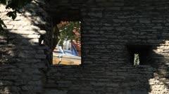Window in stone wall - stock footage