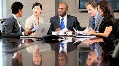 Multi Ethnic Business Team in Conference Meeting - stock footage