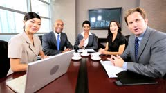 Multi Ethnic Business Team Using Online Video Uplink Stock Footage