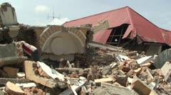 Sumatra Indonesia Earthquake Aftermath Destruction 2009 Stock Footage