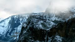 Snow and Snow Clouds Over Yosemite Mountains Stock Footage