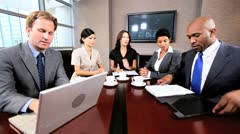 Multi Ethnic Business Team in Video Uplink Conference Stock Footage