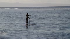 Paddle board surfer Stock Footage