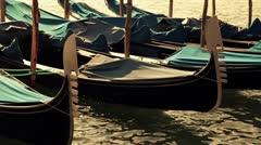 Moored gondolas at sunset, Venice, Veneto, Italy Stock Footage