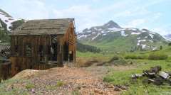 An abandoned mine in the Colorado Rocky Mountains. - stock footage