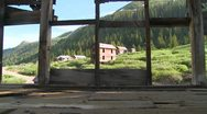 Colorado ghost town as seen through old windows. Stock Footage