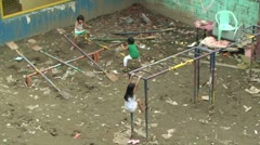 Kids Play In Slum Recreational Area In Manila Stock Footage
