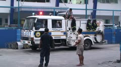 Fire Truck Responds To Emergency In Manila Stock Footage