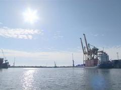 Containers, cranes, boats, marinas. Maritime transport industry. Stock Footage