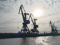 Sea port industrial cranes. Nautical cargo industry. Stock Footage