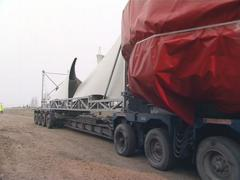 Large sized windmill components transportation. Stock Footage