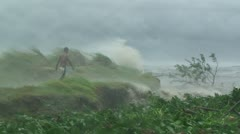 Man Lashed By Hurricane Storm Surge Stock Footage