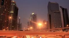 Time Lapse 1080p: Dubai city traffic at night, United Arab Emirates Stock Footage