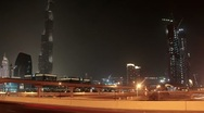 Time Lapse 1080p: Dubai city traffic at night, United Arab Emirates Stock Footage