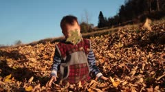 Fun with leaves by little child in autumn. Stock Footage