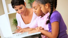Cute Little African American Girls Playing on Laptop Stock Footage