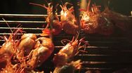 Grilling Shrimp on a Barbeque at Night Stock Footage