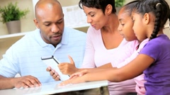 Young African American Family with Wireless Tablet - stock footage