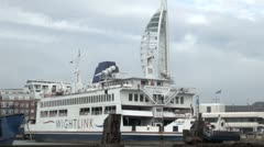 IOW Ferry Gunwharf Quays, Old Portsmouth Stock Footage