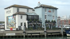 The Bridge Tavern Camber Quay, Old Portsmouth, England Stock Footage