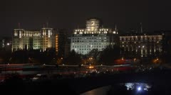 Time Lapse of London's Waterloo Bridge with Savoy Hotel Stock Footage