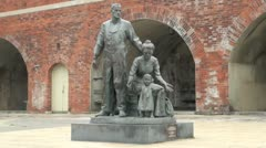 The Pioneer Statue, Sally Port, Old Portsmouth, England Stock Footage