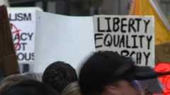 Stock Video Footage of Protest, Occupy (Wall-Street) Calgary, crowds and signs