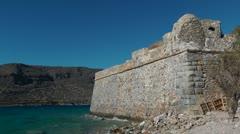 ProduThe city walls on the island of Spinalonga Stock Footage