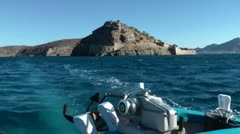 Ship departs from Spinalonga Island Stock Footage