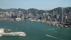 Hong Kong Victoria Harbor skyline Stock Footage