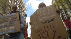 Protest, Occupy (Wall-Street) Calgary, crowds and signs Stock Footage