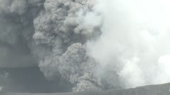 Volcano Erupts Large Cloud Of Volcanic Ash Into Sky Stock Footage