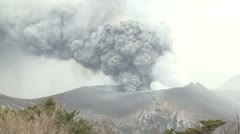 Kirishima Volcano Erupts Large Cloud Of Volcanic Ash - stock footage