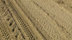 tire tracks in sand - stock footage