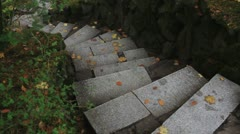 Stone Stairway in Japanese Garden One Foggy Autumn Morning Stock Footage