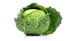 Cabbage isolated on white background – loopable file Stock Footage