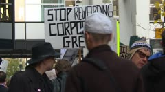 Stock Video Footage of Protest, Occupy (Wall-Street) Calgary, crowds and signs, corporate greed