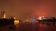 Time Lapse of London's Westminster with Fireworks Stock Footage