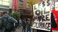 Stock Video Footage of Protest, Occupy (Wall-Street) Calgary, crowds and signs, less oil
