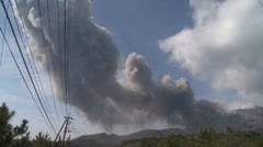 Stock Video Footage of Volcanic Ash Drifts Across Sky From Sakurajima Volcano