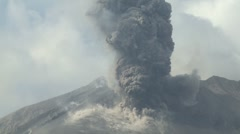 Volcanic Ash Erupts Vigorously From Crater Of Sakurajima Volcano - stock footage