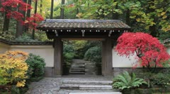 Japanese Garden Entrance in Portland Oregon with Fall Colors Stock Footage