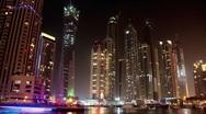 Time Lapse 1080p: Fantastic Night Dubai Marina, United Arab Emirates Stock Footage