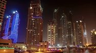 Stock Video Footage of Time Lapse 1080p: Futuristic Night Dubai Marina, United Arab Emirates