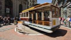 Stock Video Footage of Cable Car Turnaround in San Francisco, USA, Time-lapse
